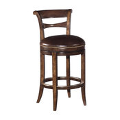 New Bar Height Stool  Brown Leather Swivel Seat  Armless  Distressed