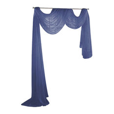 """Sheer Voile 216"""" Long Window Scarf Swag, Navy Blue"""