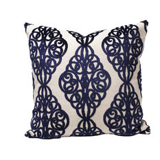 "Pawn Midnight Blue Scrollwork Pillow, 19""x19"""