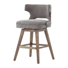 Four Hands Home - Task Counter Stool With Swivel Base, Dark Moon Canvas, Aspen Gr - Bar Stools and Counter Stools