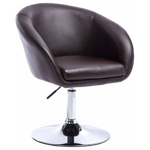 Modern Bar Stool Upholstered, Faux Leather With Armrest and High Back, Brown