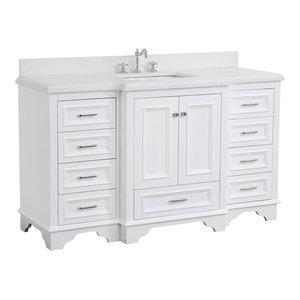 "Nantucket 60"" Bath Vanity, Base: White, Top: Quartz, Single Vanity"
