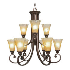 "Curl 9-Light Chandelier, Bronze Finish, 5.5"" Fluted Amber Crystal Glass"