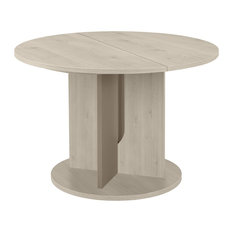 Sha Round Extendable Dining Table, Bleached Pine