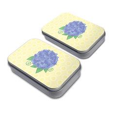 Hydrangea Flower Garden Yellow Tin Set