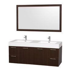 "Amare 60"" Double Vanity Espresso, Acrylic Resin Top, Integrated Sink"