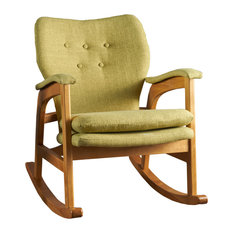 GDFStudio   Bethany Mid Century Fabric Rocking Chair, Muted Green   Rocking  Chairs