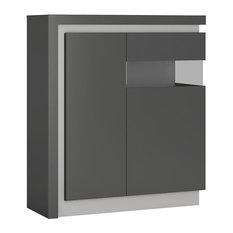 Lyon 2-Door Decorative Cabinet With LED Lighting, Grey, Right Facing