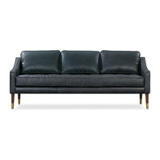Brando Leather Sofa Black Top Grain Full Aniline
