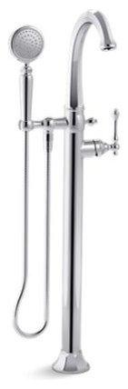 Kelston(R) floor-mount bath filler with handshower - Bathtub Faucets