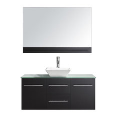 48-inch Single Bath Vanity In EspressoClear Tempered Glass TopSinkFaucetMirror