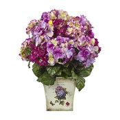 Blue, Purple, White Hydrangea With Floral Planter
