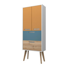 Malmö Freestanding Bathroom Cabinet, Saffron Yellow, Blue, and Beech, Large