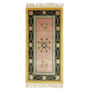 China Silk Oriental Rug, Hand-Knotted, 122x61 cm