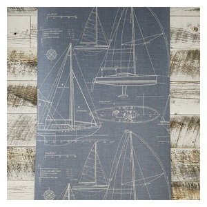 Wallquest Nautical Blueprint Sail Boat Wallpaper, Single Roll