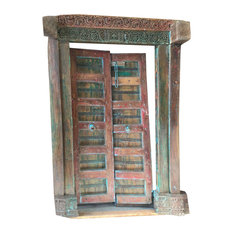 Mogul Interior - Consigned Antique Double Doors Carved Red Green Reclaimed Solid Frame Teak Doors - Front Doors