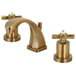 """Kingston Brass - Claremont 2 Handle 4""""-8"""" Mini Widespread Faucet, Brass Pop-up, Polished Chrome - The eclectic style of the 1930s Art Deco style is integrated within this faucet's classical design. Ideal for more spacious bathrooms, widespread faucets are more spread apart and feature a 3-hole installation. The Millennium 8-Inch Widespread Lavatory Faucet with Brass Pop-Up and its featured sturdy brass construction and premium vintage brass finish are guaranteed to glamorize your home's modern ensemble for years to come. The elegant design of this faucet will spark praise for your exquisitely-styled bathroom. A matching finish drain is also included."""