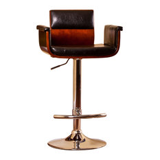 Padded Wood Back, Adjustable Swivel Barstool With Armrests