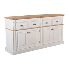 Asbury Rustic Wood 76-inch 4 Door 4 Drawer Sideboard White