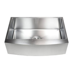 """Ariel 33"""" Curved Front Apron Stainless Steel Single Bowl Kitchen Sink Package"""