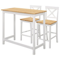 Clifton 3 Piece Counter Height Kitchen Set, Natural & White Wood