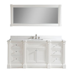 "Avenue 72"" Vanity Set With Solid Surface Quartz Top, White"