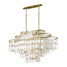 Dolce 12-Light Linear Pendant, Champagne Leaf, Capiz Shell Crystal Shade
