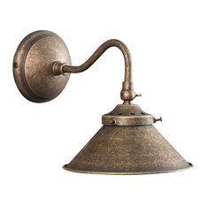 Country-Style Antique Brass Wall Light, 1 Bulb
