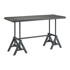 Sklar Solid Mango Wood 54-inch W Industrial Console Table Distressed Dark Brown