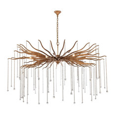 "Willow 8-Light 60"" Drizzled Antique Gold Chandelier With Royal Cut Crystal"