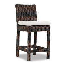 Montecito Counter Stool With Cushions, Canvas Flax With Self Welt