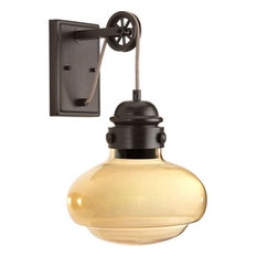 "Beaker 16.63"" 9W 1-LED Wall Sconce, Antique Bronze, Champagne Glass"