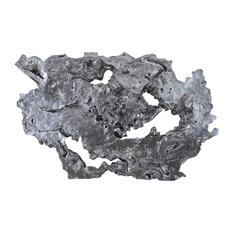 Burled Root Wall Art, Large, Liquid Silver