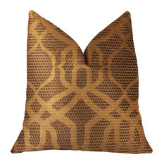 "Portia  Gold and Brown Luxury Throw Pillow, 12""x20"""