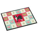 "Caroline's Treasures - Elo Dog #2 Love Indoor/Outdoor Mat 18x27 - ""Caroline's Treasures Elo Dog #2 Love Indoor or Outdoor Mat 18x27 doormats, Multicolor""INDOOR / OUTDOOR FLOOR MAT 18 inch by 27 inch Action Back Felt Floor Mat / Carpet / Rug that is Made and Printed in the USA. A Black binding tape is sewn around the mat for durability and to nicely frame the artwork. The mat has been permenantly dyed for moderate traffic and can be placed inside or out (only under a covered space). Durable and fade resistant. The back of the mat is rubber backed to keep the mat from slipping on a smooth floor. Wash with soap & water."