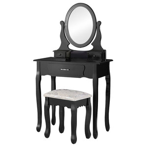 Modern Dressing Table Set, Round Mirror and Cushioned Stool, 3-Drawer, Black