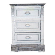 White Shabby Chic Vintage French Style Bedside Table 3-Drawer Bedroom Furniture