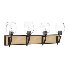 Cole 4-Light Bath Vanity, Aged Brass/Old Bronze Clear Watered