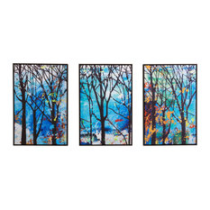 """""""Enchanted Forest"""" Hand Painted Canvas Wall Art, 3-Piece Set"""