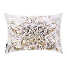 "Oliver Gal ""Floralia Blanc"" Pillow, 14""x20"""