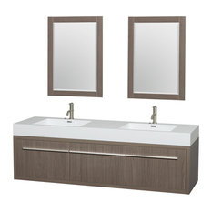 "72"" Double Vanity, Gray Oak, Acrylic Resin Top, Integrated Sinks, 24"" Mirrors"