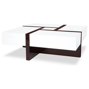 Wondrous Modrest Makai Modern White And Walnut Square Coffee Table Caraccident5 Cool Chair Designs And Ideas Caraccident5Info