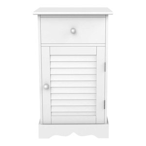 Contemporary Bedside Cabinet, White Painted Wood With Drawer and Shutter Door