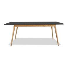 Table scandinave bois et laque Large 180cm Skoll Couleur Gris anthracite