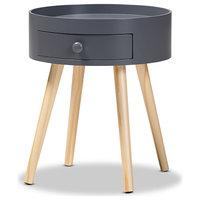 Baxton Studio Jessen Mid-Century Modern Gray 1-Drawer Wood Nightstand