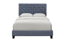 Woven Pattern Upholstered Queen Bed in Blue