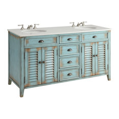 60-inch Abbeville Rustic Blue Double Sink Vanity