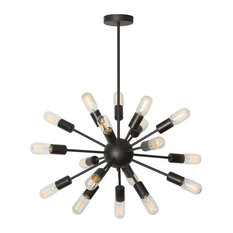 Satellite 18-Light Chandelier, With Antique T14 Bulb, Matte Black