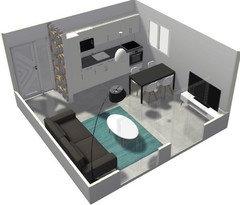 am nager s jour salon cuisine carr 22m2. Black Bedroom Furniture Sets. Home Design Ideas