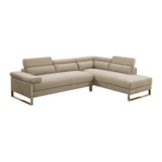 Infinity 2 Piece Fabric Sectional Sofa Set With Flip Up Headrest Beige